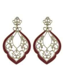 Enamel and Rhinestone Large Women Hanging Stud Earrings