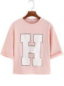 Letter Print Ribbed Pink T-shirt