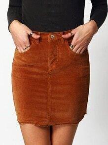 Corduroy Bodycon Khaki Skirt