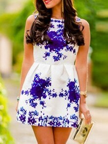 Sleeveless Florals Flare Blue Dress