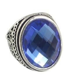 Blue Big Single Stone Ring