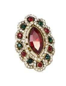 Red Rhinestone Women Wedding Ring