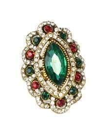 Green Rhinestone Women Wedding Ring