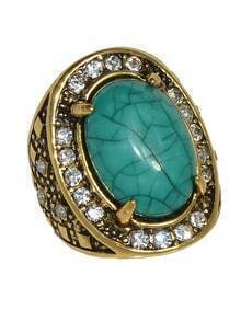 Green Simple Big Imitation Gemstone Ring