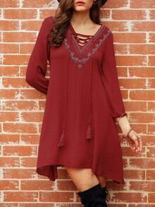 Burgundy Lace Up Neck Embroidered Dress
