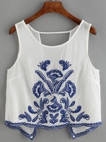 Cut Out Embroidered Chiffon Tank Top