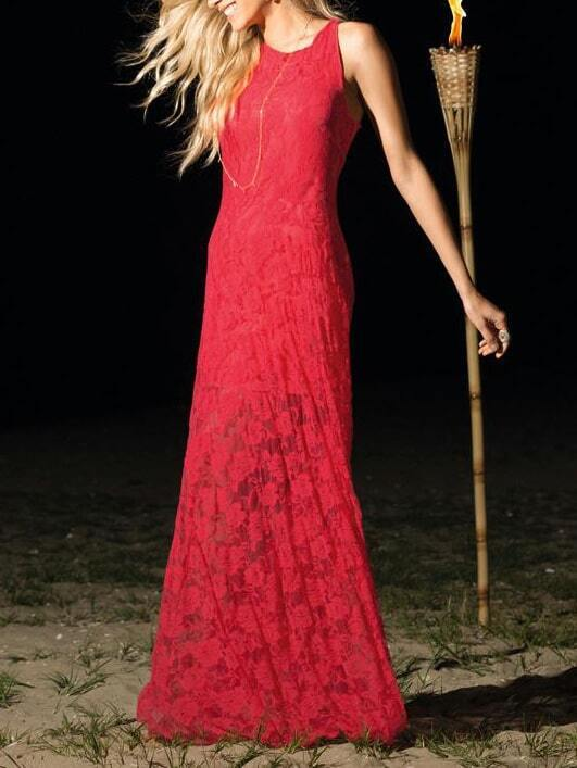Sleeveless Lace Evening Maxi Red Dress - $18.67