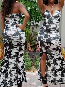 Strapless Cut Out Print Split Dress