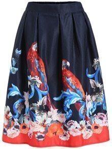 Bird Print Florals Navy Skirt
