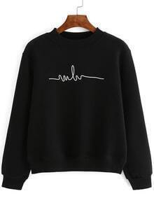 Crew Neck Print Black Sweatshirt