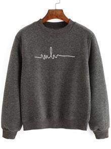 Crew Neck Print Grey Sweatshirt