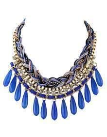 Darkblue Long Beads Statement Bubble Bib Necklace