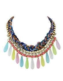 Colorful Long Beads Statement Bubble Bib Necklace