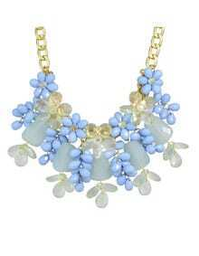 Blue Beautiful Resin Chunky Statement Flower Necklace