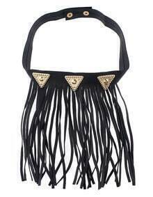 Gothic Punk Black Pu Leather with Hanging Long Tassel Choker Necklace