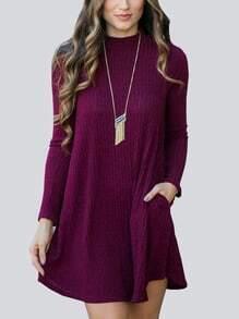 Mock Neck Ribbed Trapeze Burgundy Tshirt Dress