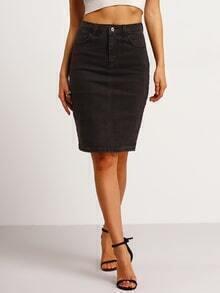 Split Back Denim Bodycon Skirt