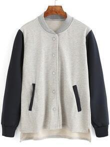Dip Hem Color-block Varsity Jacket