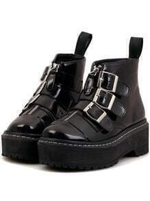 Black Round Toe Buckle Zipper Thick-soled Short Boots