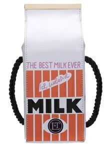 White Letter Print Milk Bottle Shape Magnetic Bag