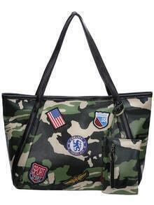 Green Camo Print Patch Bag With Small Bag