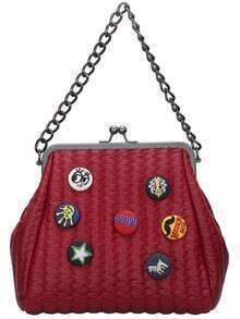 Red Kiss Lock Buttons Embellished PU Bag