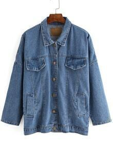 Dropped Shoulder Seam Denim Trucker Jacket