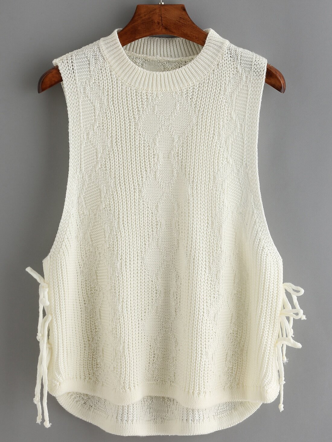 High Low Lace Up Vest Sweater