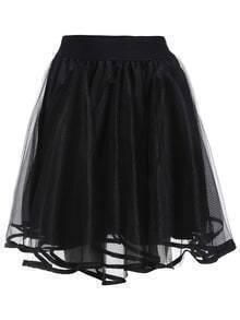 Elastic Waist Flare Mesh Skirt