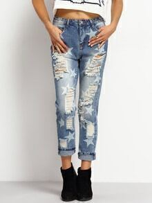 Stars Print Ripped Denim Pant
