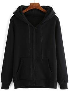 Hooded Drawstring Zipper Black Sweatshirt