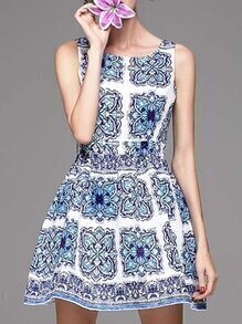 White and Blue Porcelain Round Neck Sleeveless Jacquard Dress