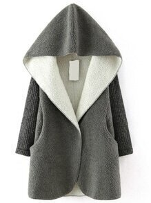 Grey Hooded Sweater Long Sleeve Loose Coat