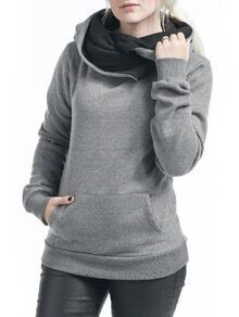 Grey Hooded Long Sleeve Slim Sweatshirt