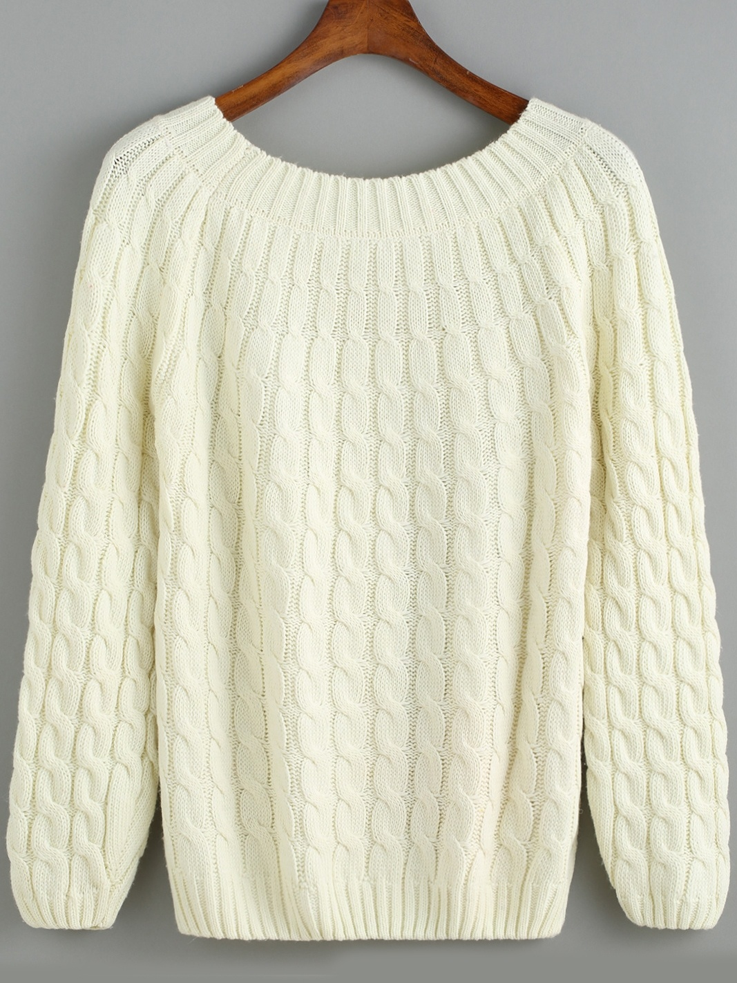 White Round Neck Cable Knit Sweater