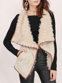 Apricot Sleeveless Faux Fur Coat