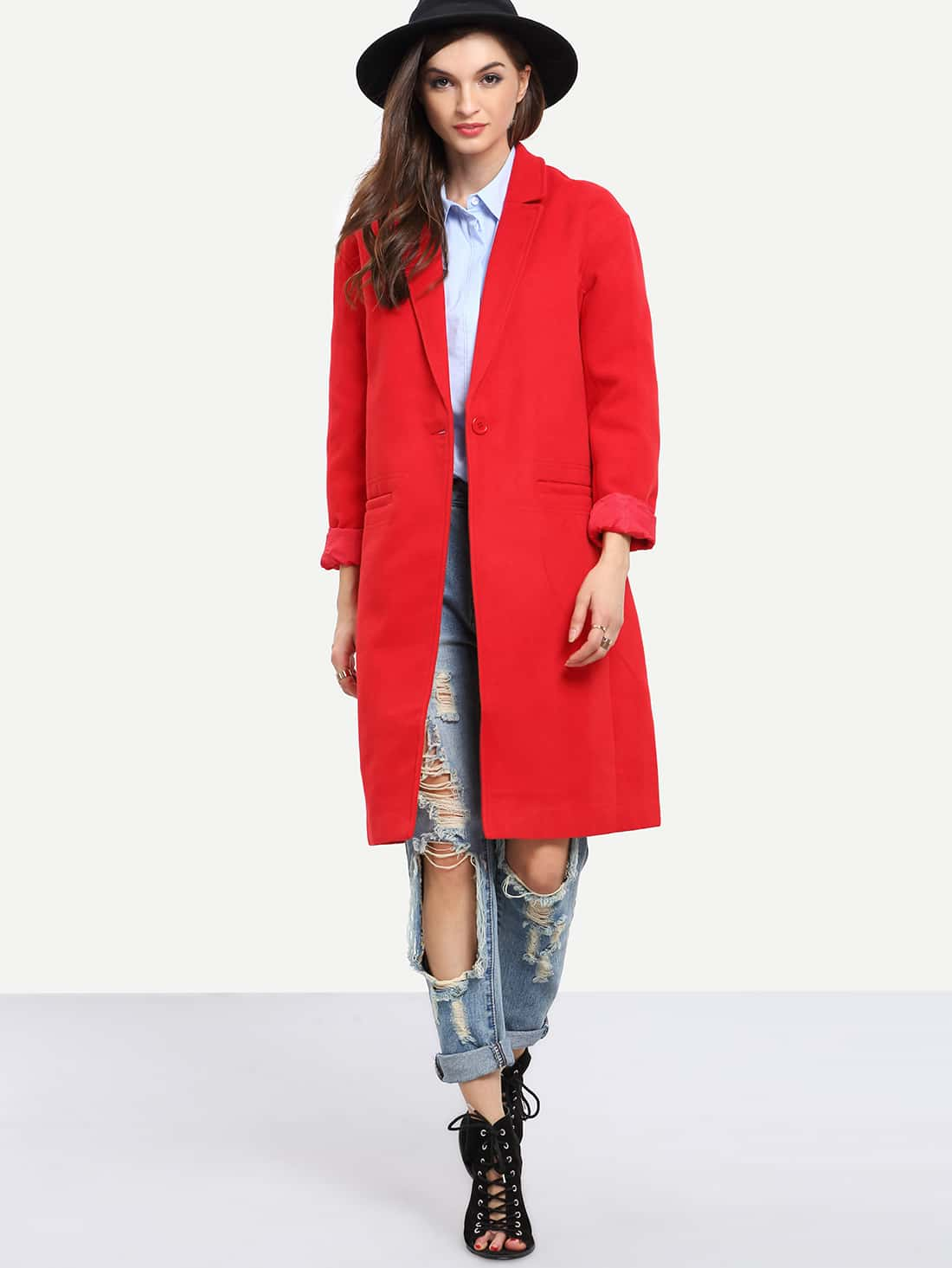 Red Long Sleeve Lapel Coat - $16.31
