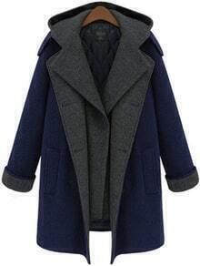 Blue Hooded Buttons Pockets Long Coat