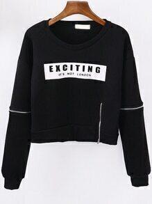 Black Round Neck Letters Print Zipper Crop Sweatshirt