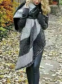Black Grey Fringe Vintage Scarve