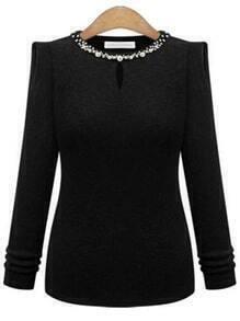 Jersey cuello abalorio manga larga -negro