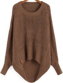 Brown Round Neck Dip Hem Knit Sweater