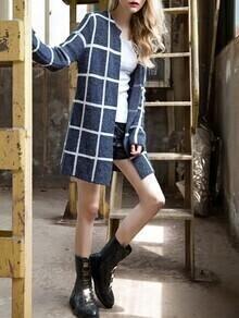 Blue Long Sleeve Plaid Coat