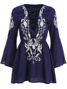 Bell Sleeve Lace Up Embroidered Dress
