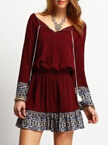 Bell Sleeve Tribal Print Lace Up Dress