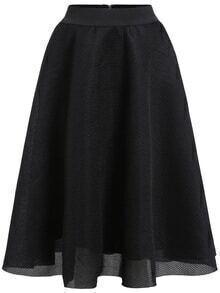 Elastic Waist Flare Black Skirt