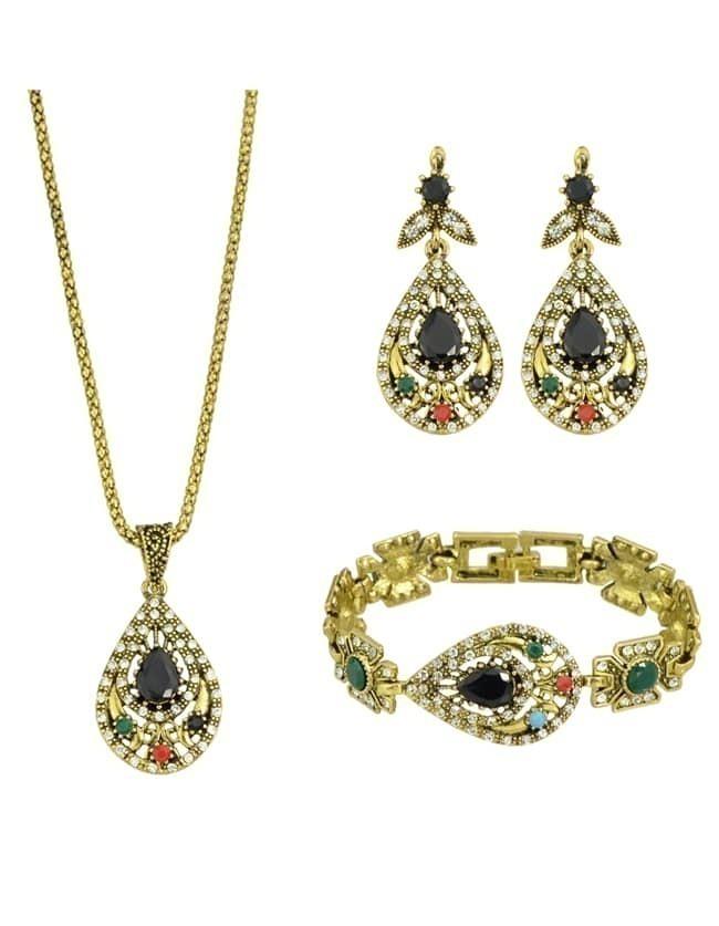 Vintage Style Colorful Rhinestone Necklace Bracelet Earrings Fashion Jewelry Setfor Women Romwe