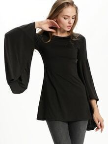 Black Bell Sleeve Crew Neck Dress