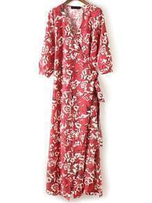 V Neck Florals Split Wrap Kimono Dress