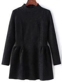 Mock Neck Suede Black Flippy Dress